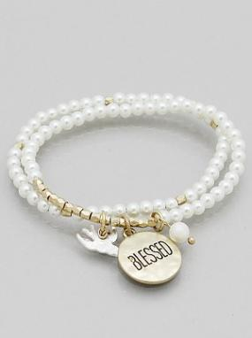 Pearl Stretch Bracelets with Blessed Charm in 3 Choices - Free Shipping