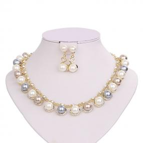 Tri Color Pearl Necklace Set - Free Shipping