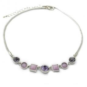 Silver Tone Multi-Stone Necklace in Purple or Black - Free Shipping
