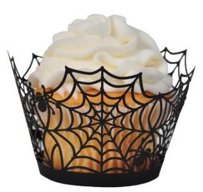 Spider Web Cupcake Collars for Halloween