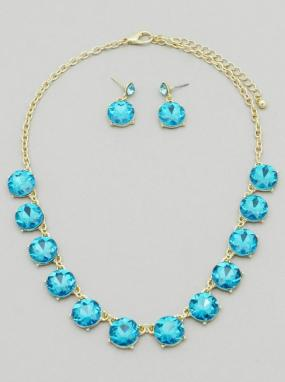 Round Crystal Statement Necklace and Earring Set - Free Shipping