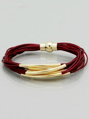 Multi Cord Gold Bar Magnetic Bracelet in Red or Blue - Free Shipping