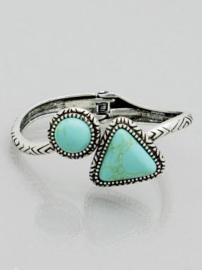 Aztec Turquoise Etched Cuff - Free Shipping