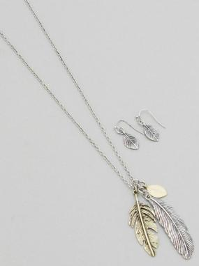 Multi-tone Feather Necklace and Earring Set - Free Shipping