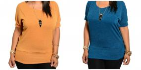 Plus Size Basic Top in Mustard or Teal