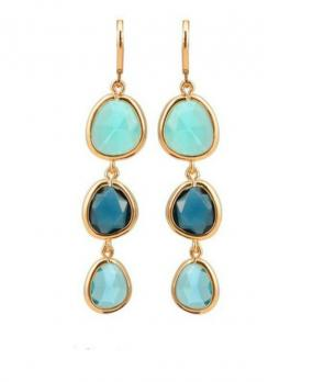 Three Stone Drop Earrings in Blue or Pink