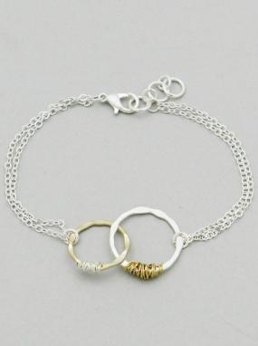Two Tone Linked Hoop Bracelet - Free Shipping