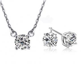 Solitaire Brilliant-Cut CZ Necklace and Earring Set in 18K White Gold Finish - Free Shipping