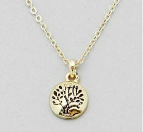 Engraved Tree of Life Pendant Necklace in Silver or Gold - Free Shipping
