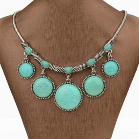 Turquoise Circle Drop Statement Necklace - Free Shipping