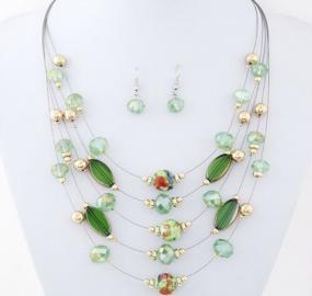 Illusionary Necklace and Earring Set in Blue or Green - Free Shipping