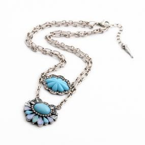 Blossom Necklace in Blue Hues - Free Shipping