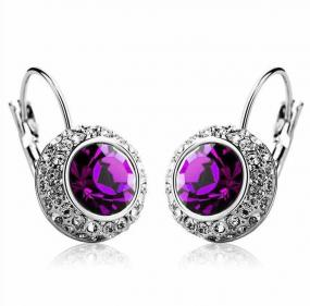 Classic Halo Gemstone Earrings in 2 Stone Colors - Free Shipping