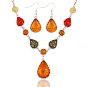 Amber in Earth Tones Jewelry Set - Free Shipping