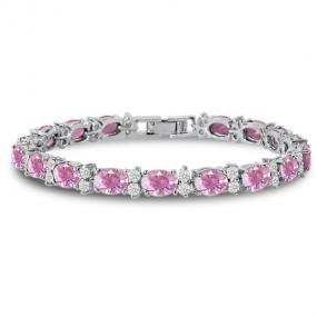 Classic Pink Sapphire Tennis Bracelet - Free Shipping