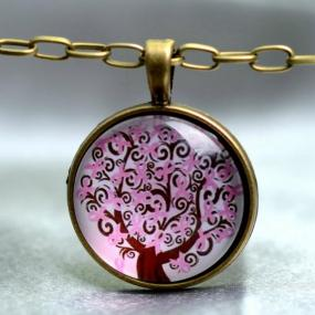 Pink Ribbon Tree of Life Necklace