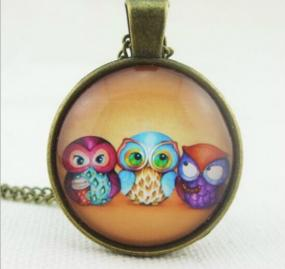 Trio Owl Pendant Necklace - Free Shipping