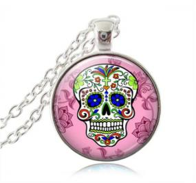 Sugar Skull Necklace in Black or Pink - Free Shipping