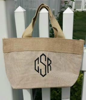 Monogrammed Jute and Cotton Natural Tote Bag