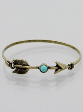 Turquoise Accented Wire Bangle Bracelet - Free Shipping