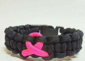 Paracord Pink Ribbon Bracelet in Black or White - Free Shipping