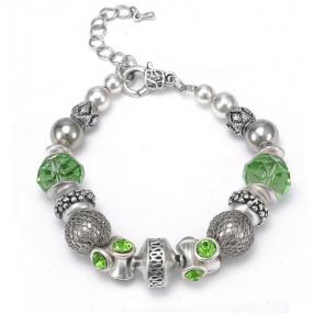 Glass Bead Charm Bracelet in Blue or Green - Free Shipping