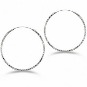 Diamond Cut Sterling Silver Hoops - Free Shipping