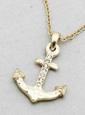 Deals for a Penny, Just Pay Shipping - Pave Anchor Pendant Necklace