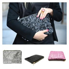 Deals for a Penny, Just Pay Shipping - Dazzling Sequin Clutch in Black, Silver or Pink