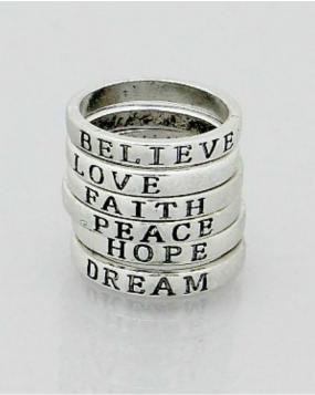 Black Friday Special - Inspirational Message Rings Set of 6 - Free Shipping