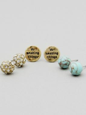 Black Friday Special - Do Amazing Things Earring Set - Free Shipping