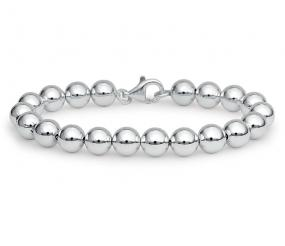 8mm Silver Bead Bracelet - Free Shipping