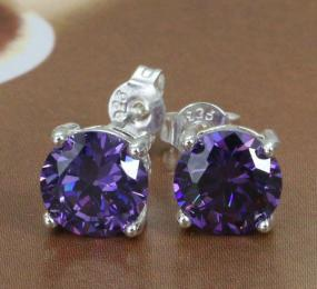 Sterling Silver Tanzanite Stud Earrings....FREE SHIPPING