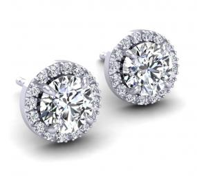 Swarovski Pave Halo White Gold Earrings.....FREE SHIPPING