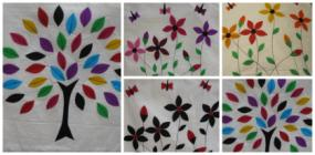 Decorative Felt Appliques on Cotton Pillow Cover - $2 Shipping