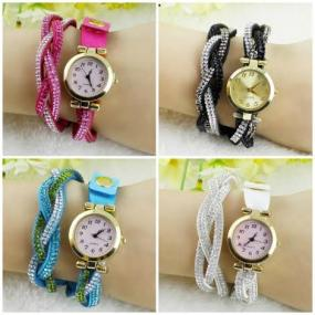 CLOSEOUT......Rhinestone Braided Wrap Watch.....FREE SHIPPING