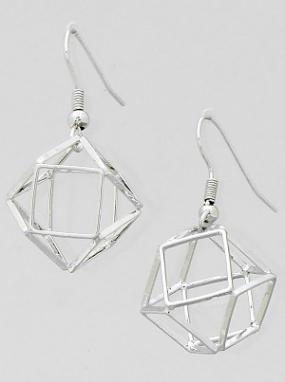 Open Geometric Silver Earrings.......FREE SHIPPING