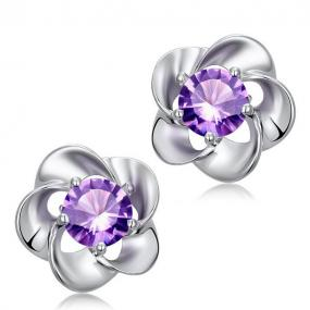 Flower Studded Earrings in Amethyst or Diamond.....FREE SHIPPING