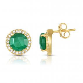 Green Onyx Halo Earrings