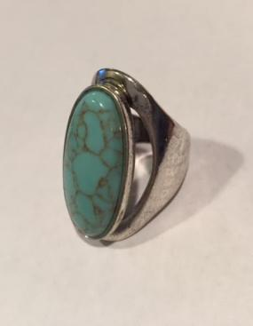 Oval Turquoise Ring  Size 7