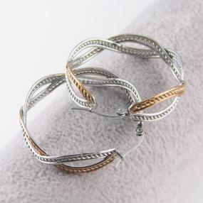 Rose Gold and Silver Twist Hoop Earring