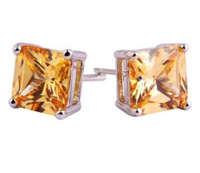 noraBleu Princess Cut Sterling Earrings in 5 Precious Stones- FREE SHIPPING