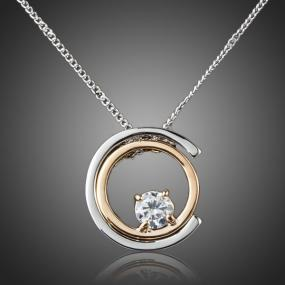 Two Tone Austrian Crystal Circle Pendant Necklace