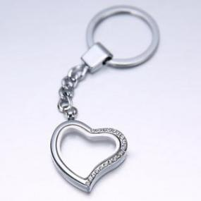 Floating Heart Charm Keychain - 2 Free Charms..FREE SHIPPING